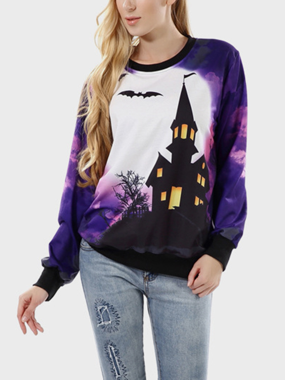 Purple Random Floral Print Round Neck Long Sleeves Sweatshirt blue causal random floral print drawstring polo neck long sleeves hoodies