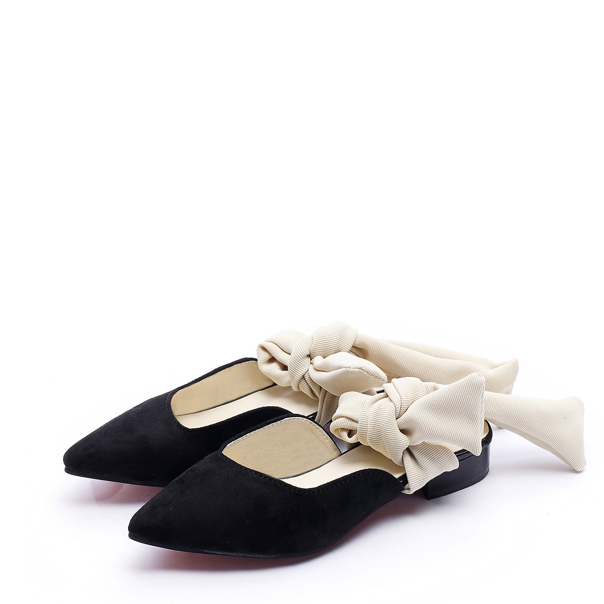 Black Suede Pinted Toe Strap Design Slippers pink suede pinted toe strap design slippers
