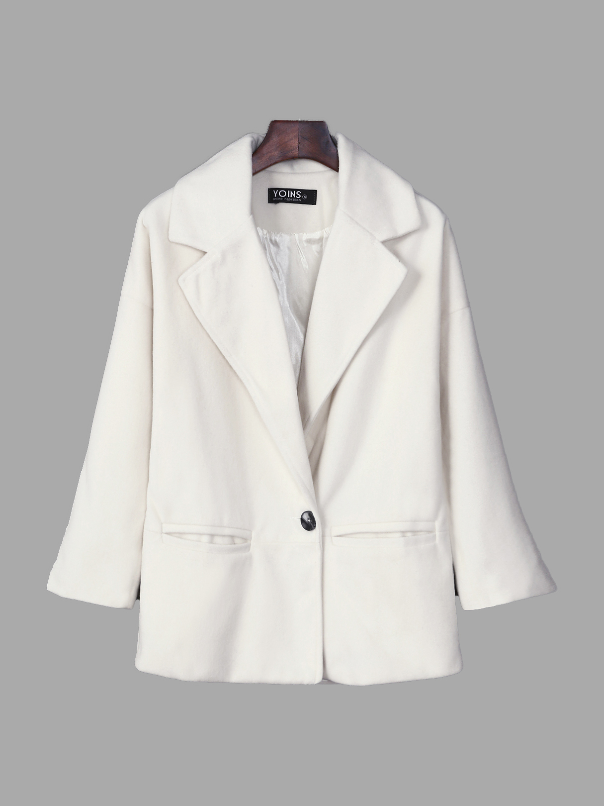 Fashion Lapel One Button Long Sleeves Trench Coat Outerwear