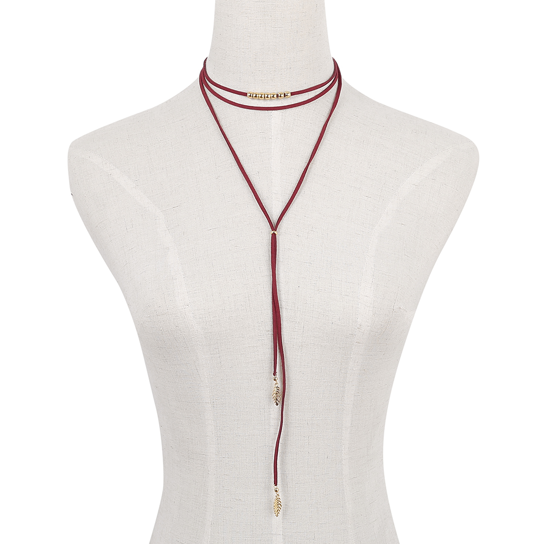 Velvet Ribbon Easy-matched Long Necklace With Three Chain