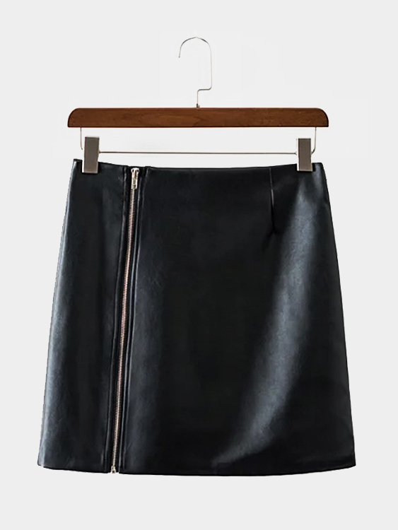 Black Leather-look A-line Mini Skirt leather look mini skirt with zipper details