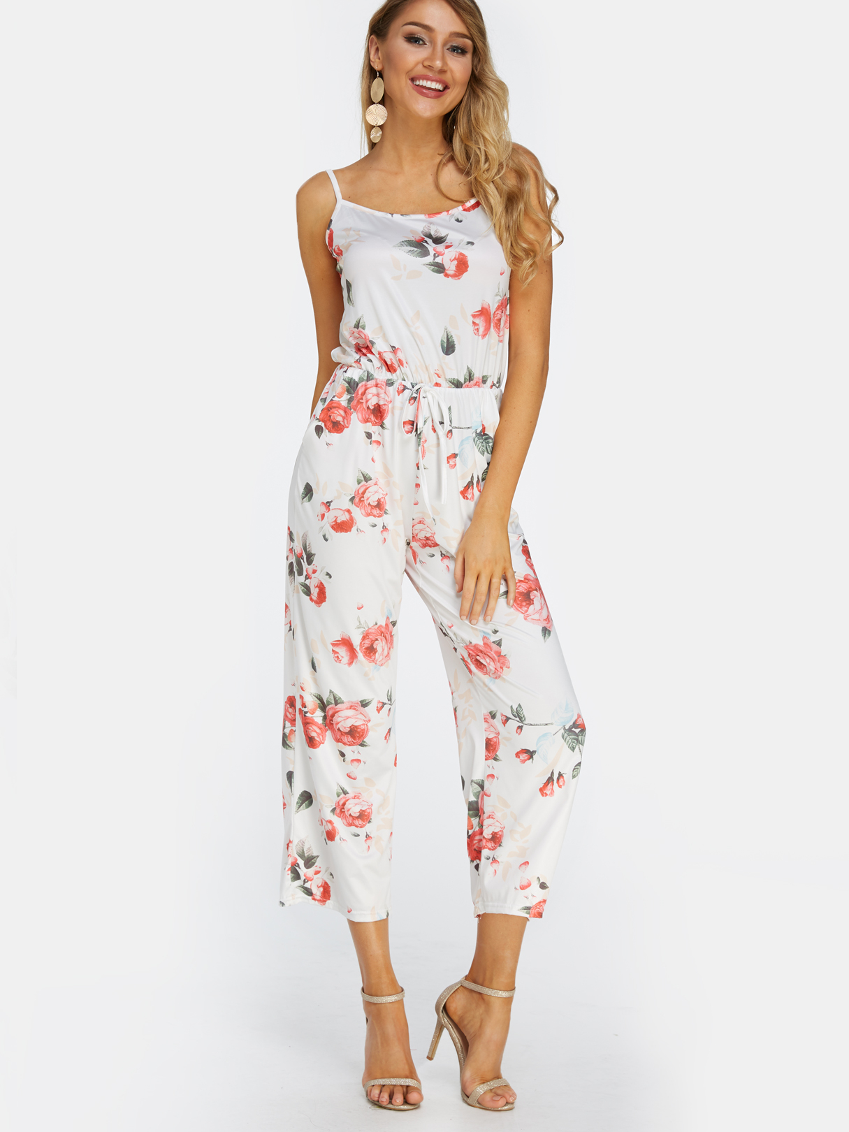 White Backless Design Radndom Floral Print Drawstring Waist Jumpsuit