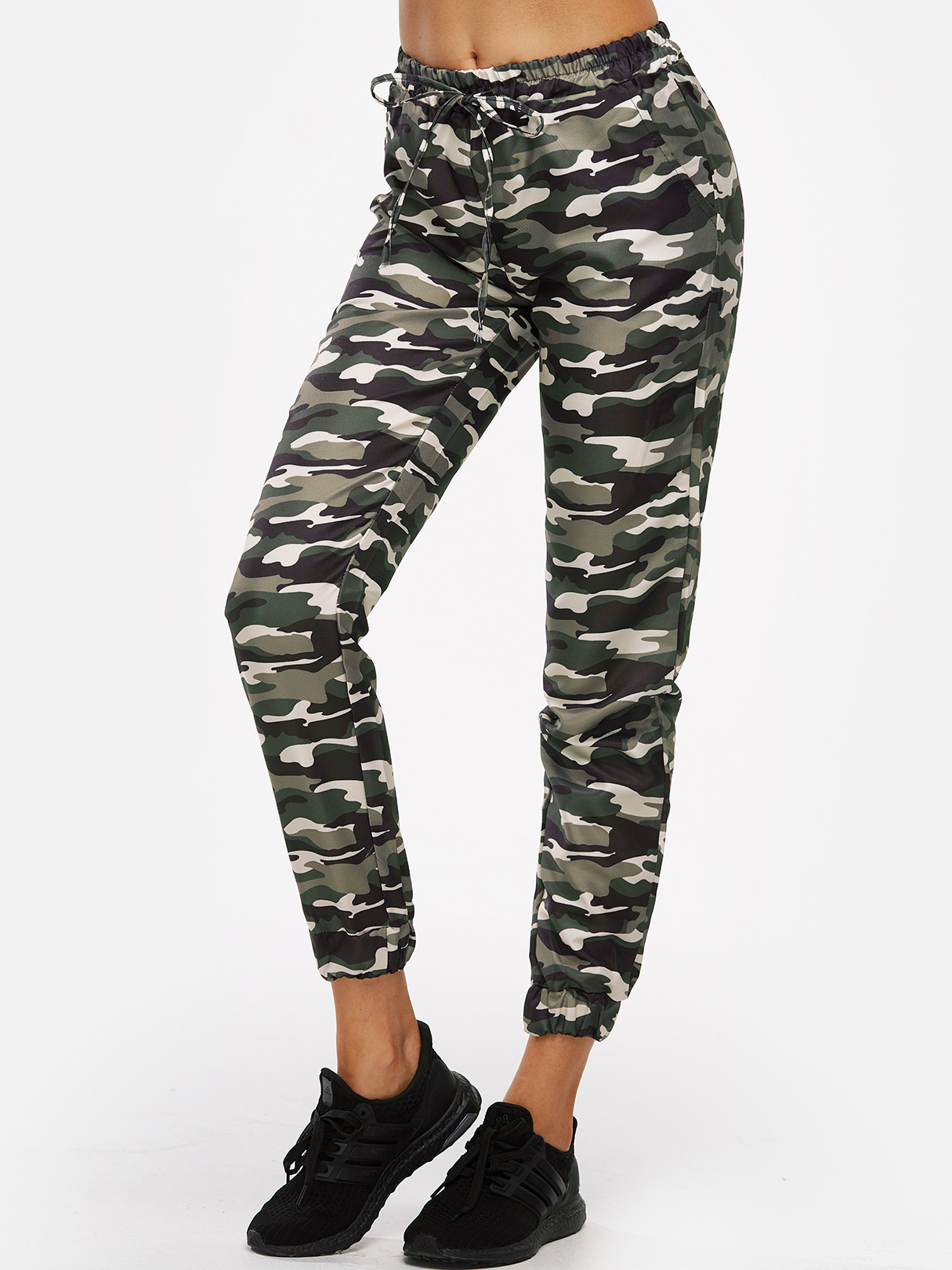 Active Camouflage Pattern High Waisted Sports Pants in Green active camouflage pattern mesh gym tracksuit in pink