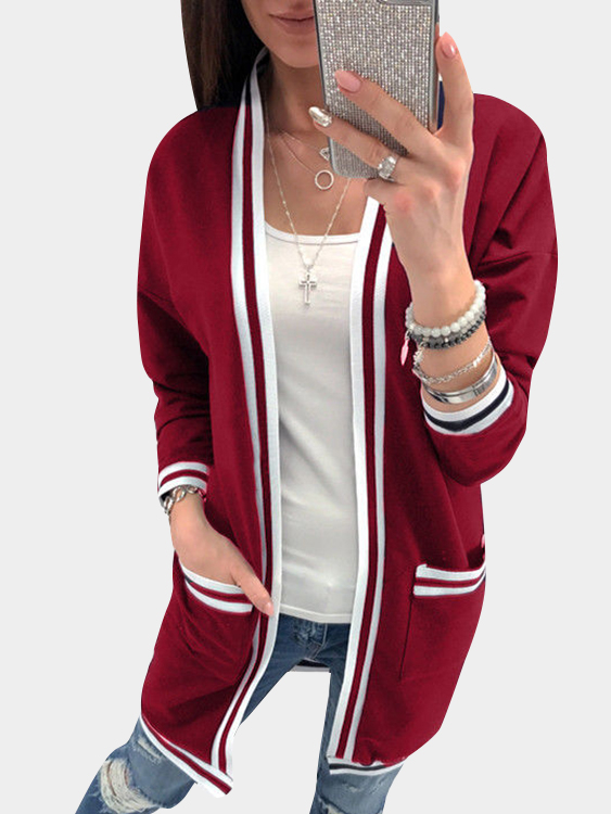 Burgundy Two Large Pockets Long Sleeves Loose Cardigans