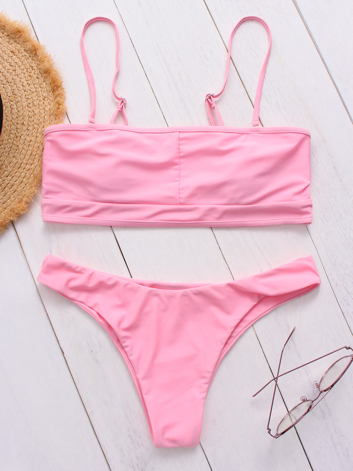 Pink Spaghetti Cut-out Back Design Bikini sexy style spaghetti straps diamante one piece women s swimwear