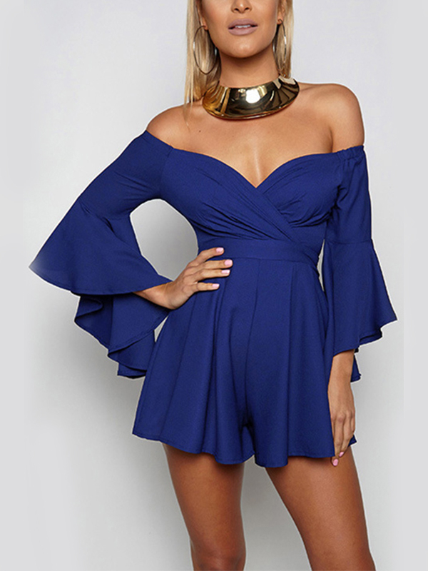 Blue Off-The-Shoulder Long Flared Sleeves Wrap Playsuit cadetblue sexy off shoulder flared sleeves blouse