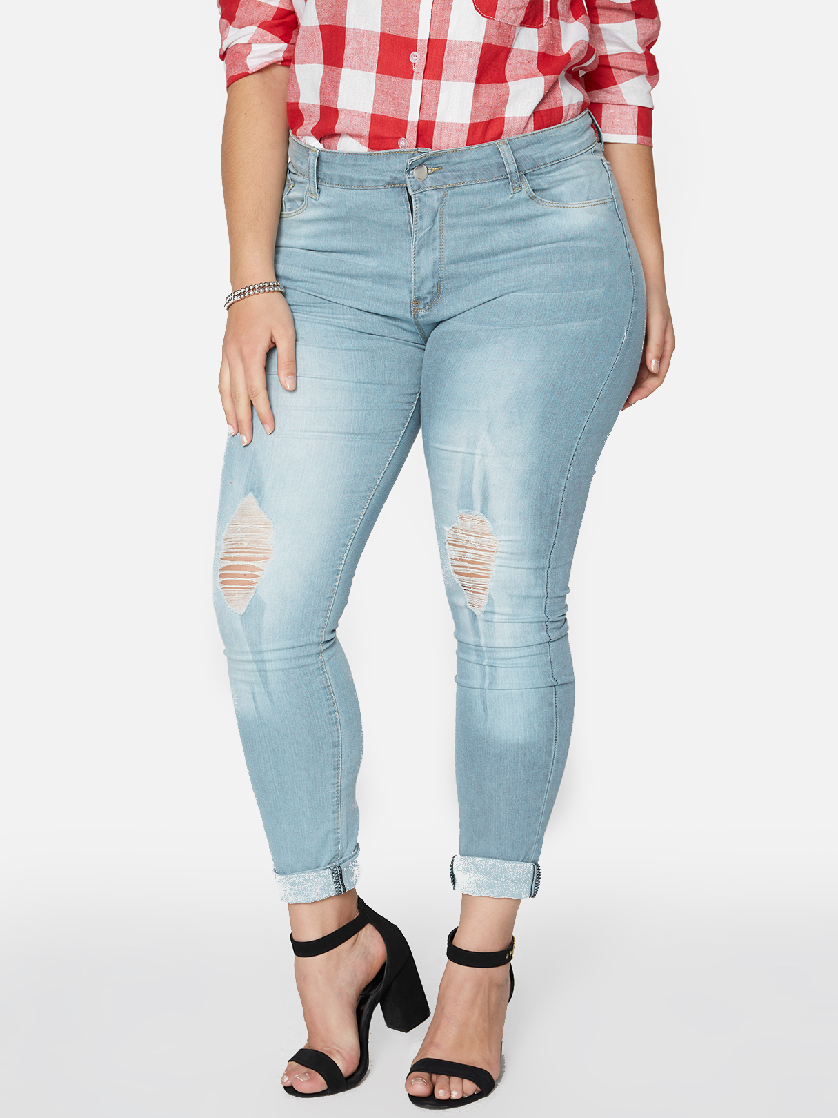 Light Blue Ripped Details Middle-waisted Skinny Jeans light blue ripped details middle waisted jeans