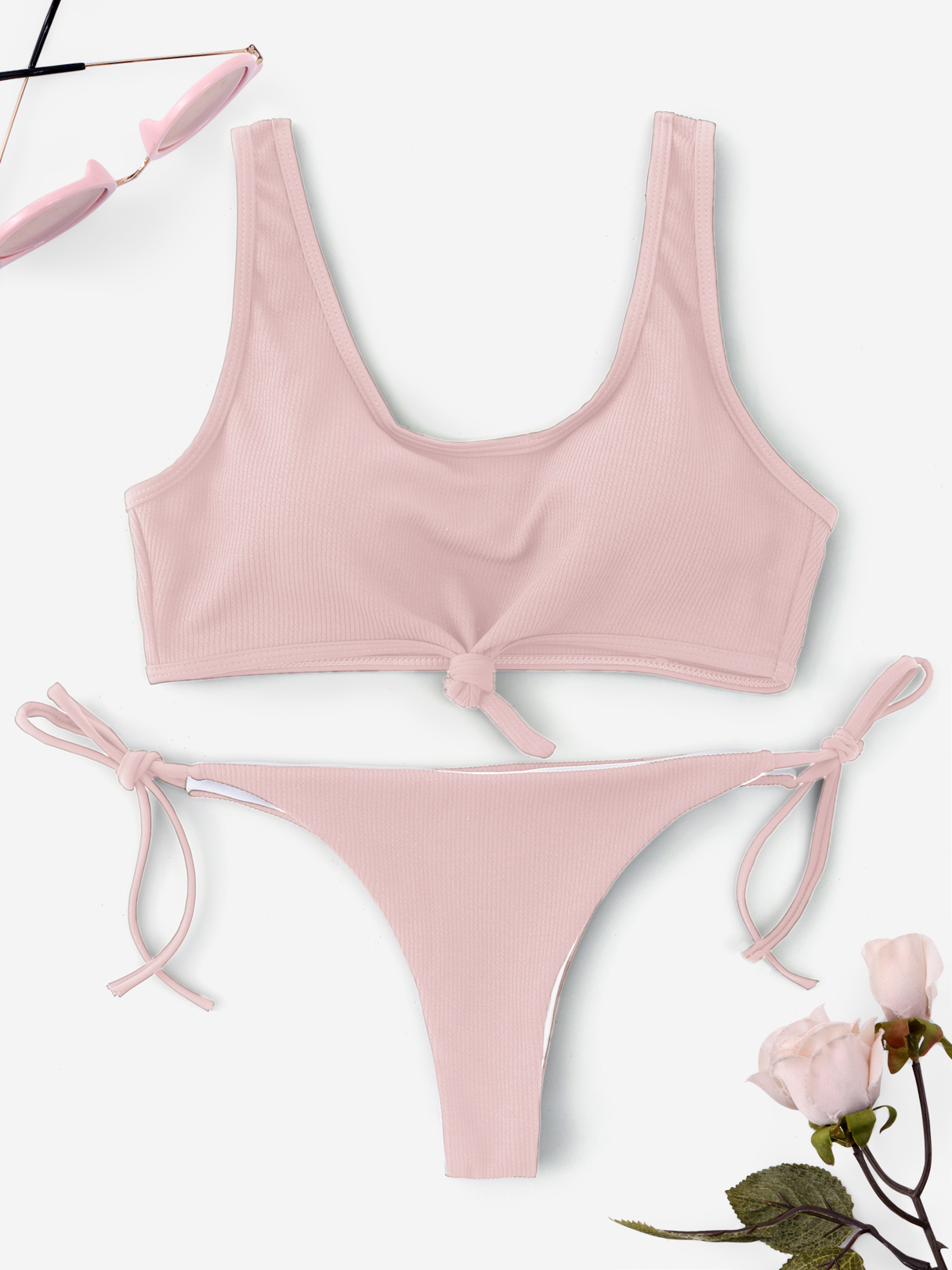 Pink Knotted Front Tie-up Design String Bikini khaki knotted front tie up design string bikini