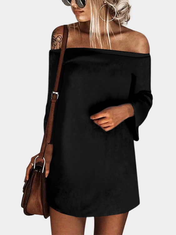 Black Sexy Off Shoulder Lace Up Plain Mini Dress