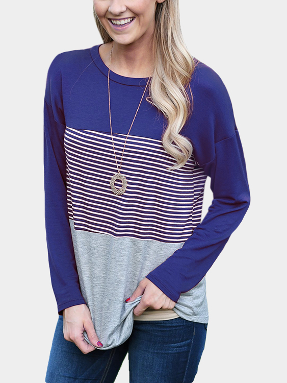 Blue Stripe Stitching Round Neck Long Sleeves T-shirt green stripe color stitching round neck long sleeves t shirt