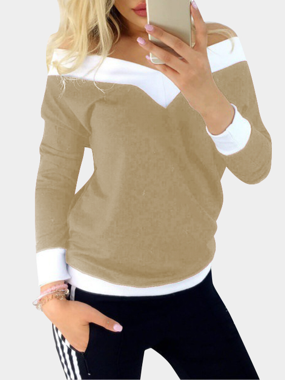 Khaki Stitching Details Off Shoulder V-neck Long Sleeves Casual T-shirt нож универсальный 12 5 см moulinvilla granate utility kgu 012