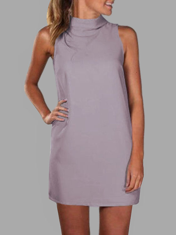 Grey High Neck Sleeveless Mini Dress