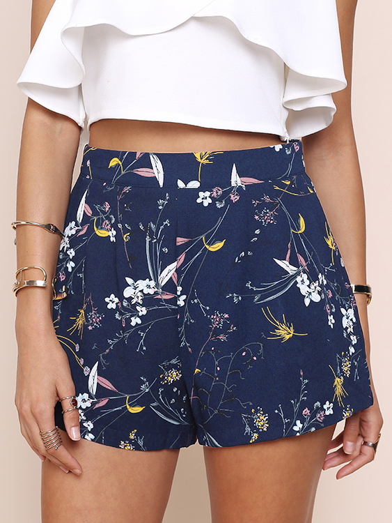 Navy Random Floral Print Back Zipper High Waist Shorts with Pockets zip back fit and flared plaid dress