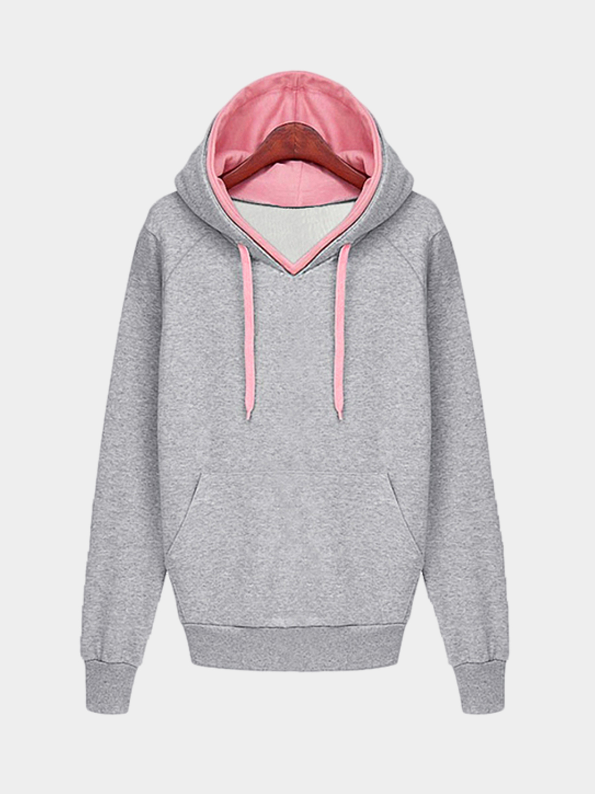 Grey Layered Contrast Color Hooded Strappy Front Sweatshirt