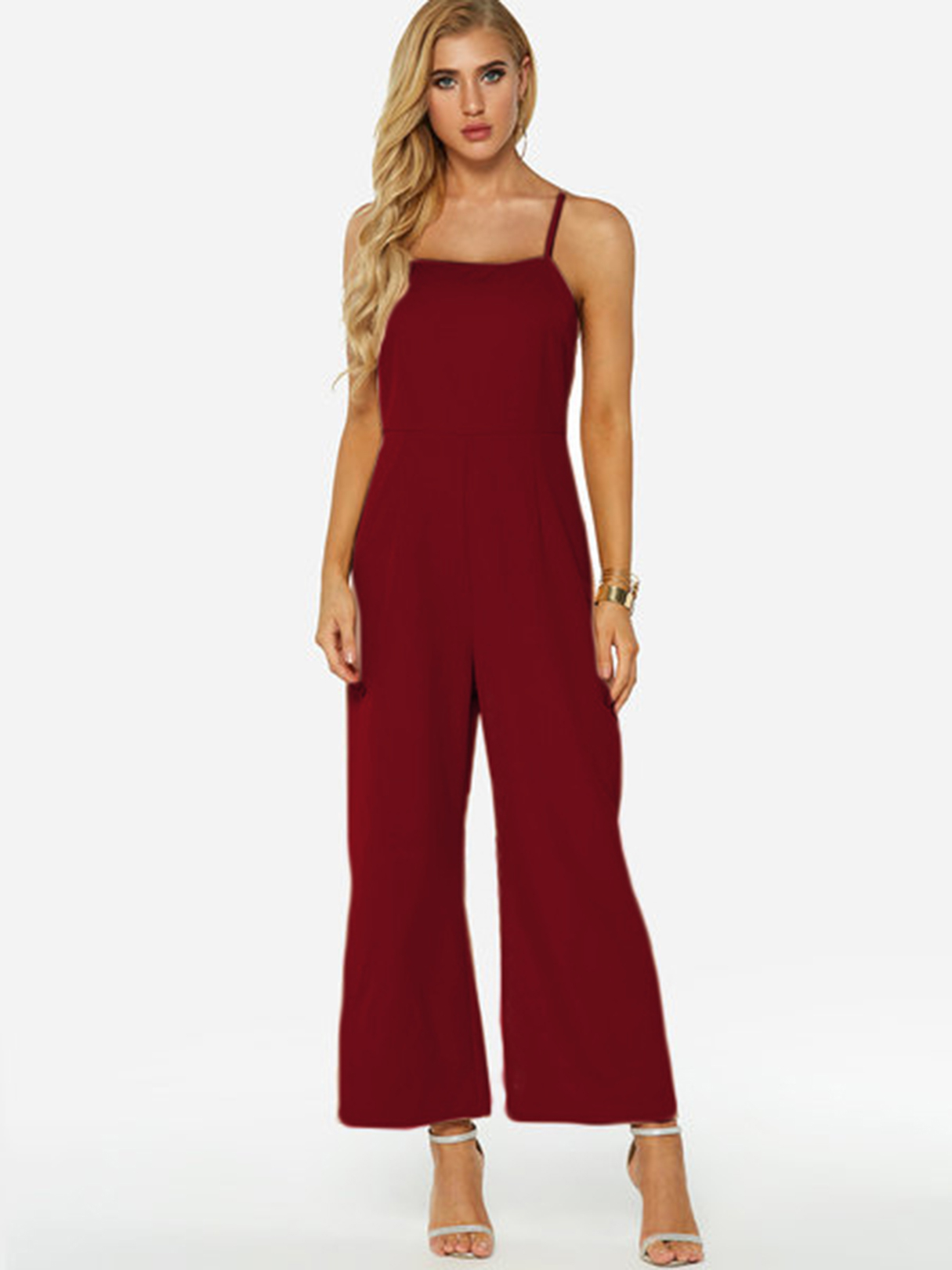 Burgundy Zip Back Square Neck Sleeveless Wide Leg Jumpsuit zip up florals wide leg jumpsuit