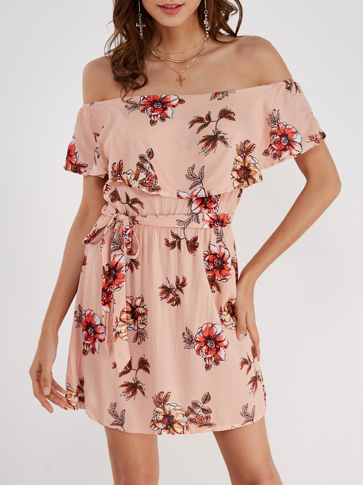 Off-The-Shoulder Ruffle Design Random Floral Print Dress cute off the shoulder floral print ruffled dress for women