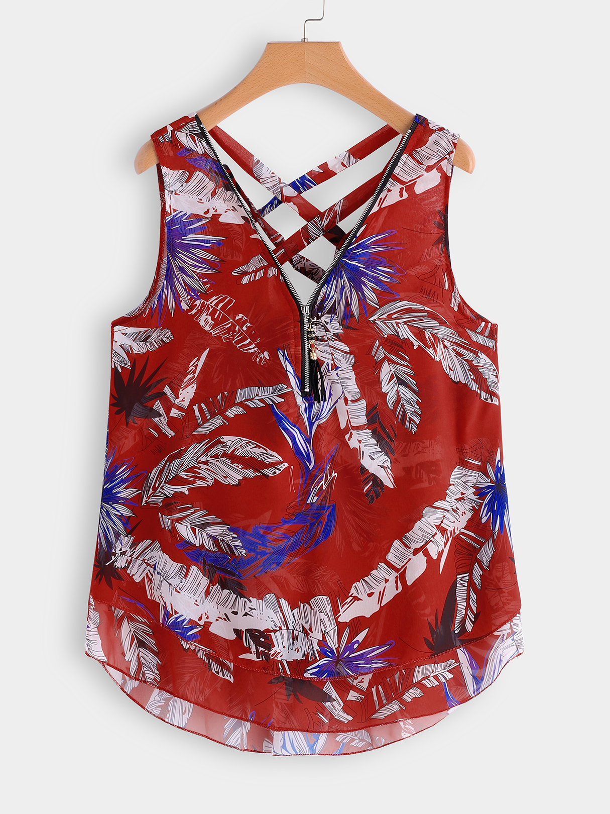 Red Criss-cross Leaf Print Zip Front Tank zip front tank dress