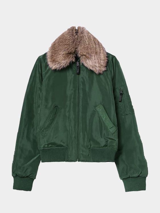 Quilted Jacket with Artificial Fur Collar