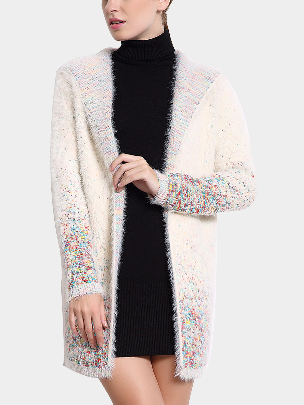White Hooded Cardigan with Colorful Pattern