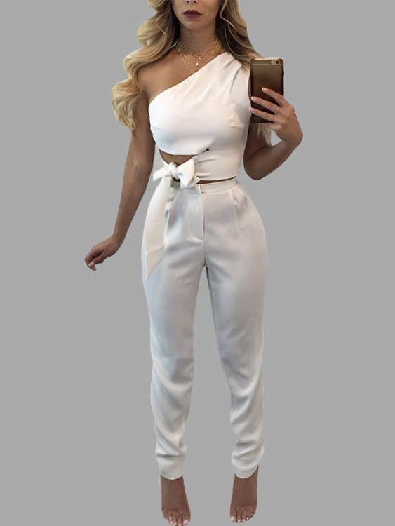 White Lace-up Design Crop Top & Zip Back Design Pants Suits lace up back crop cami top