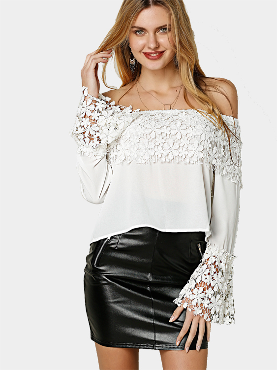 White Off Shoulder Long Sleeves Lace Details Top