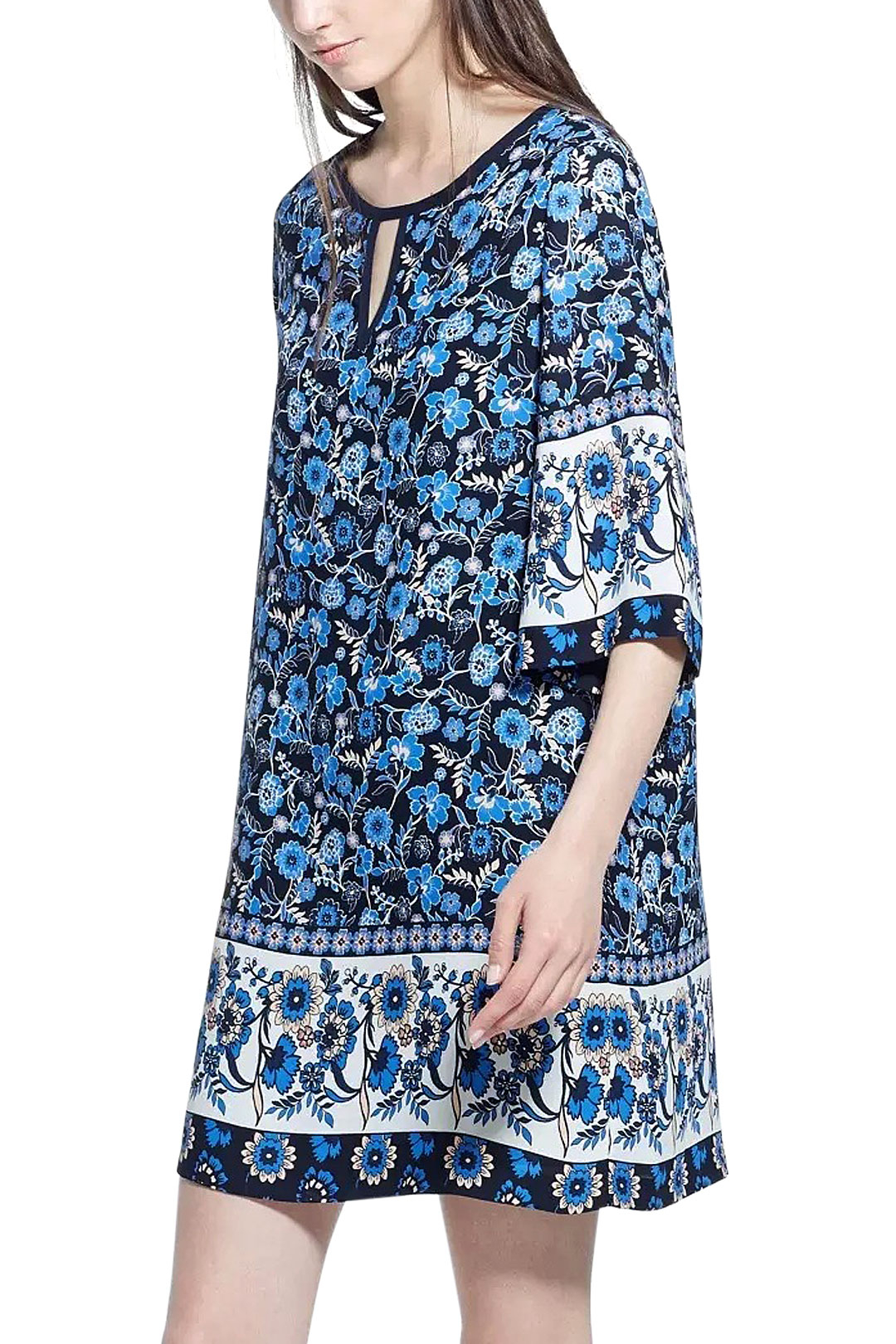 Blue Random Floral Print Shift Dress