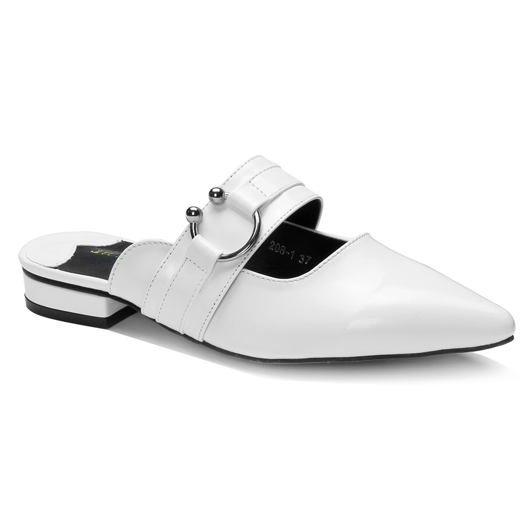White Buckle Embellished Patent Leather Pointed Toe Mules