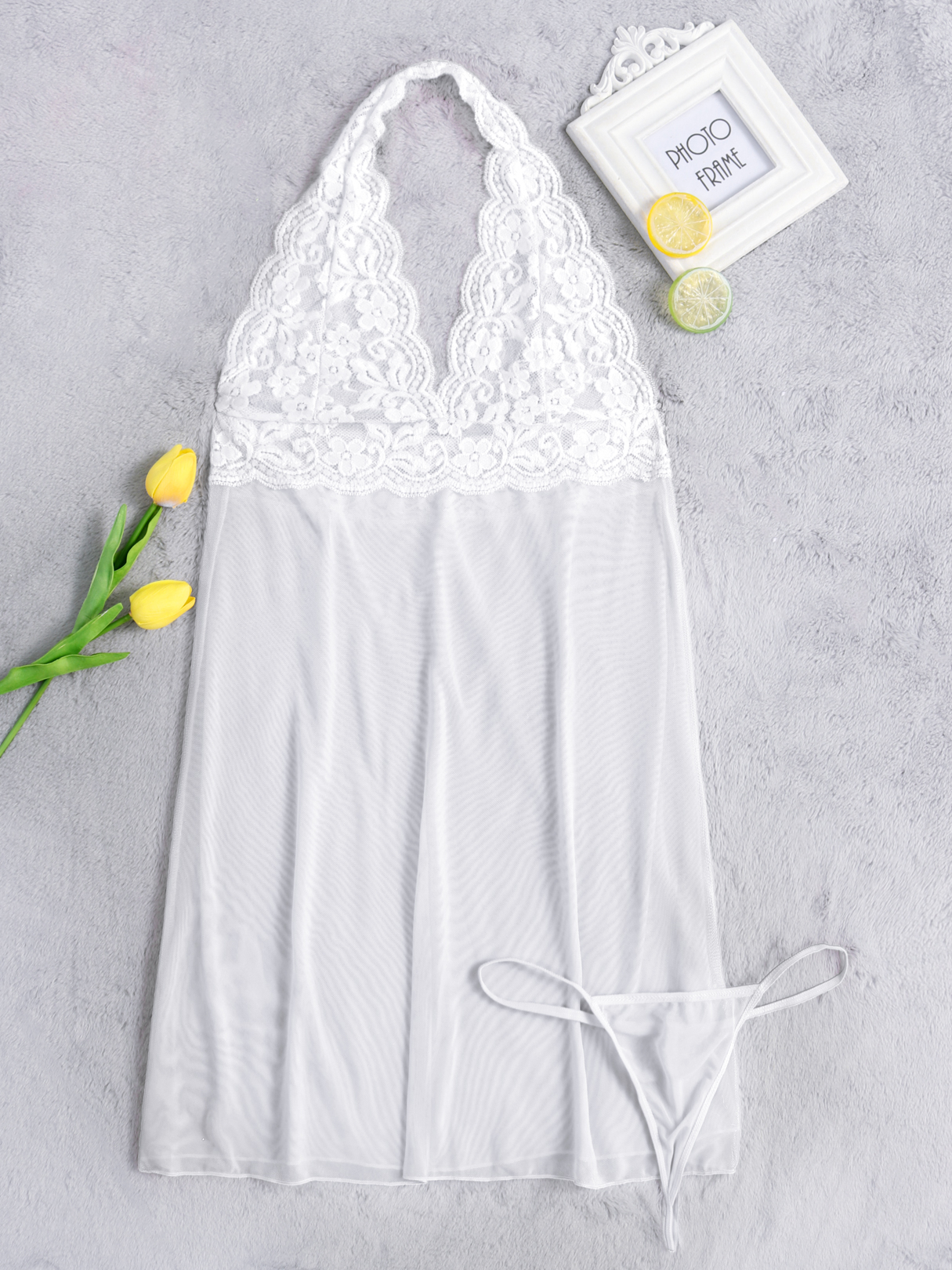 White Sexy Halter Hollow Design Pajamas Dress with T-back