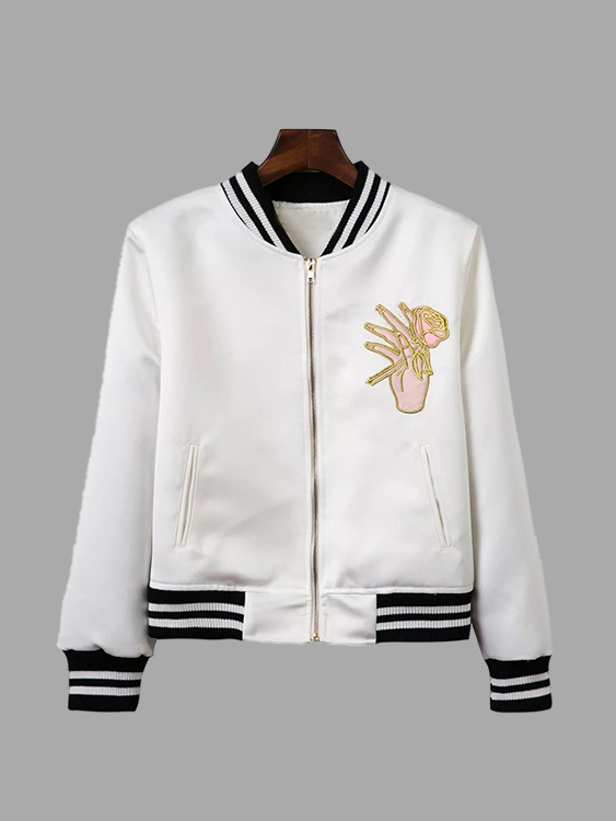 White Fashion Jacket With Floral Embroidery Pattern