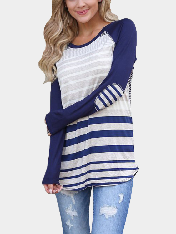 Blue Stripe Round Neck Curved Hem Tee block stripe hanky hem skirt