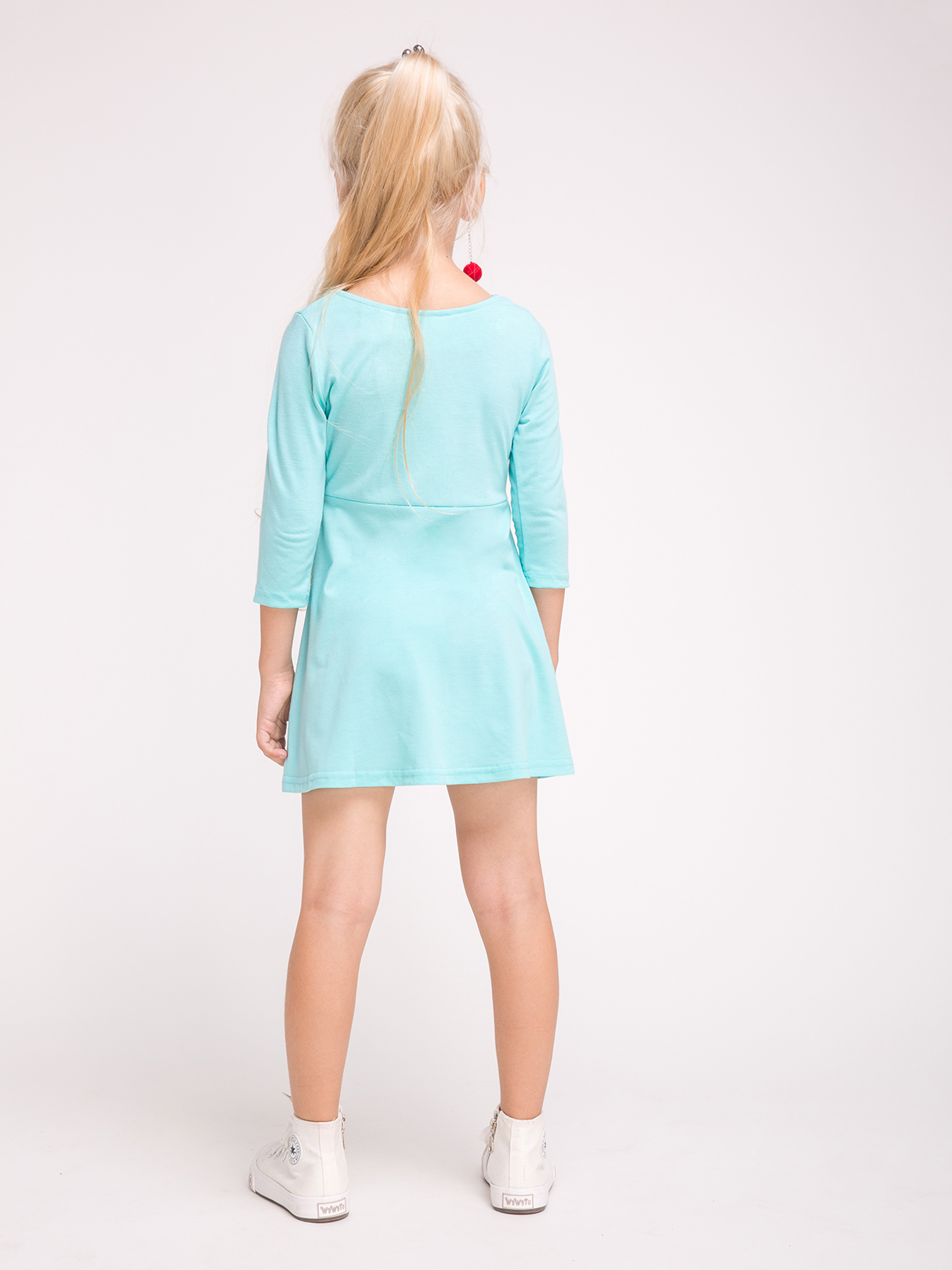 Mommy and Me Round Neck Half Sleeves Dress in Green от Yoins.com INT