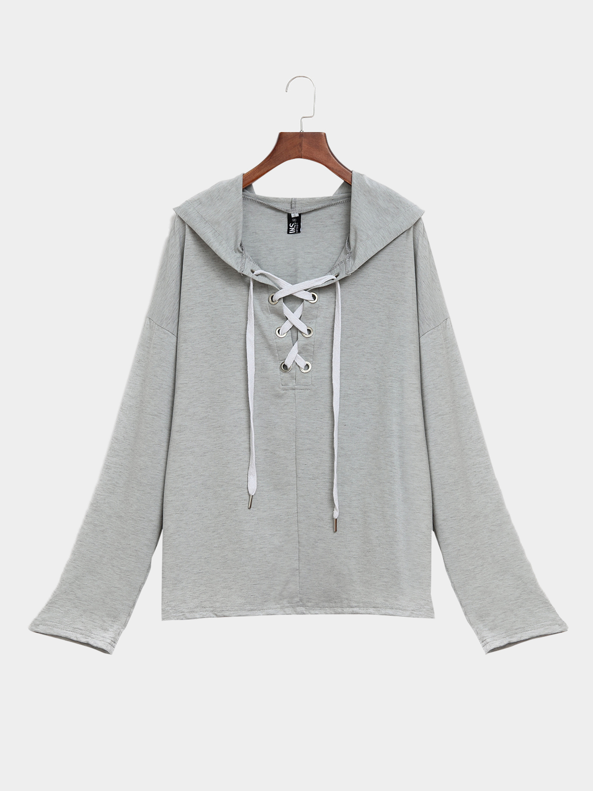 Grey Long Sleeves Lace-up Design Hoodie