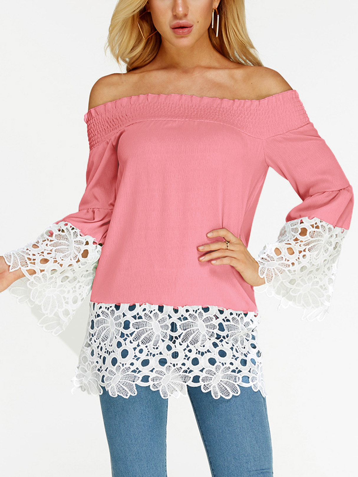 Pink Crochet Lace Embellished Off The Shoulder Long Sleeves Blouse white hollow out off the shoulder long sleeves blouse