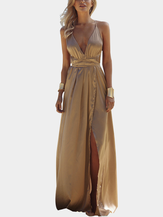 Light Brown Open Back Sleeveless Slit Hem Maxi Dress