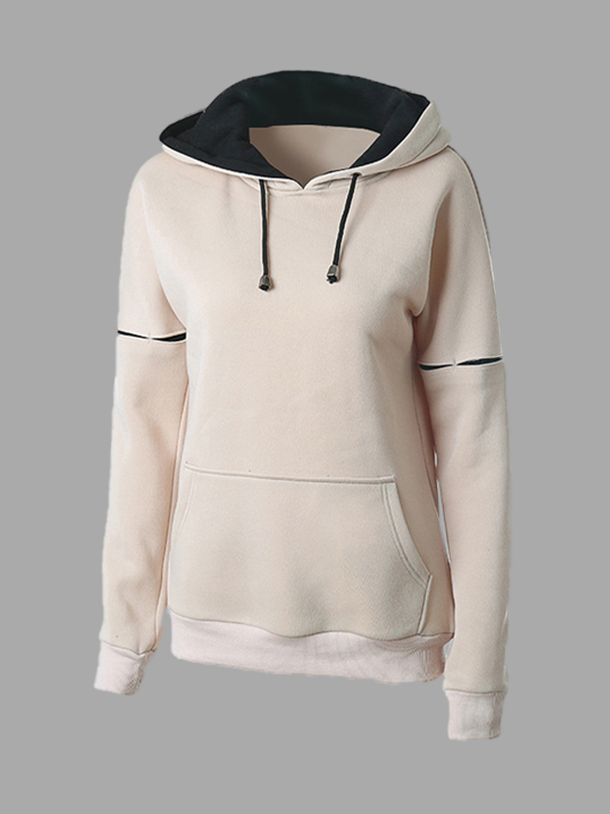 Double Color Hooded Pocket Front Sweatshirt купить