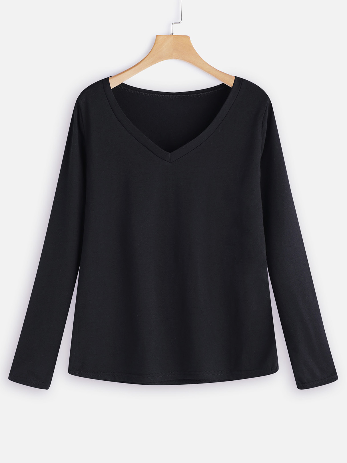 Black Plain Deep V Neck Long Sleeves Loose Fit T-shirts deep v neck fit