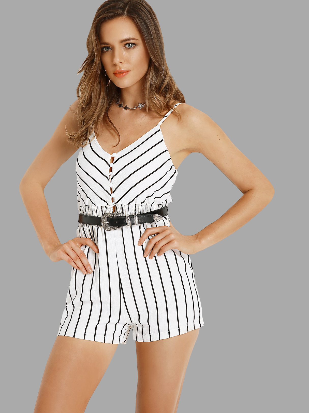 Plunge V-neckline Stripe Playsuit with Single Breasted in White white layered elastic waist playsuit with tassel details