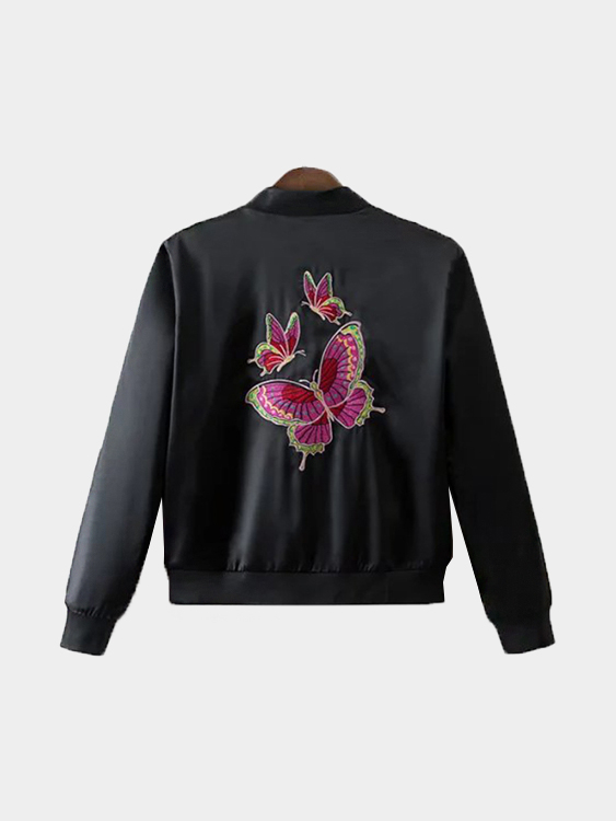 Fashion Black Jacket With Butterfly Embroidery Pattern цена и фото