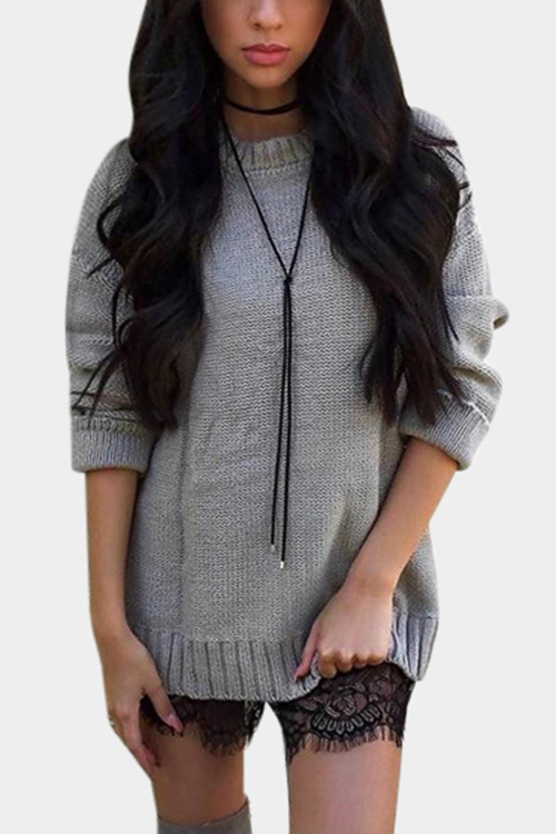 Grey Lace-up Back Crew Neck Pullover Knitted Sweater black sequins embellished open back lace up top