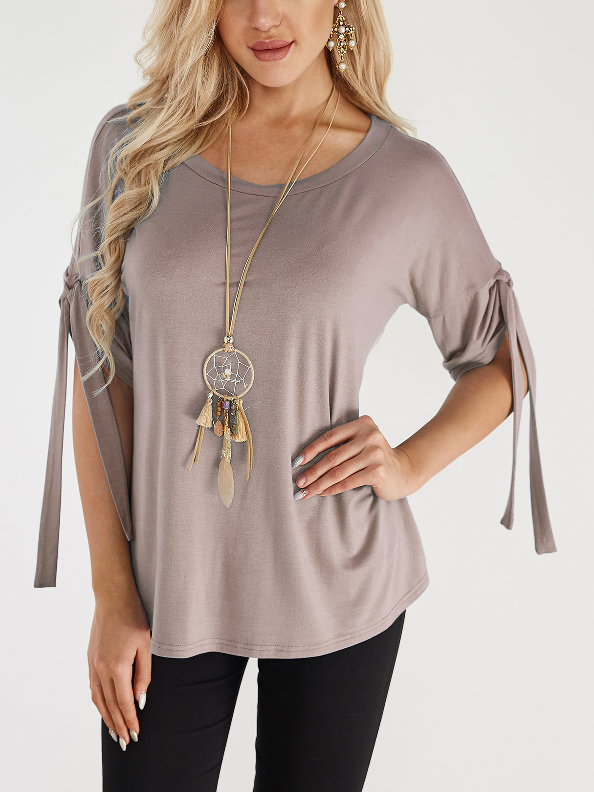 Khaki Lace-up Design Round Neck Short Sleeves T-shirts khaki knitted round neck hollow front design bottoming t shirt