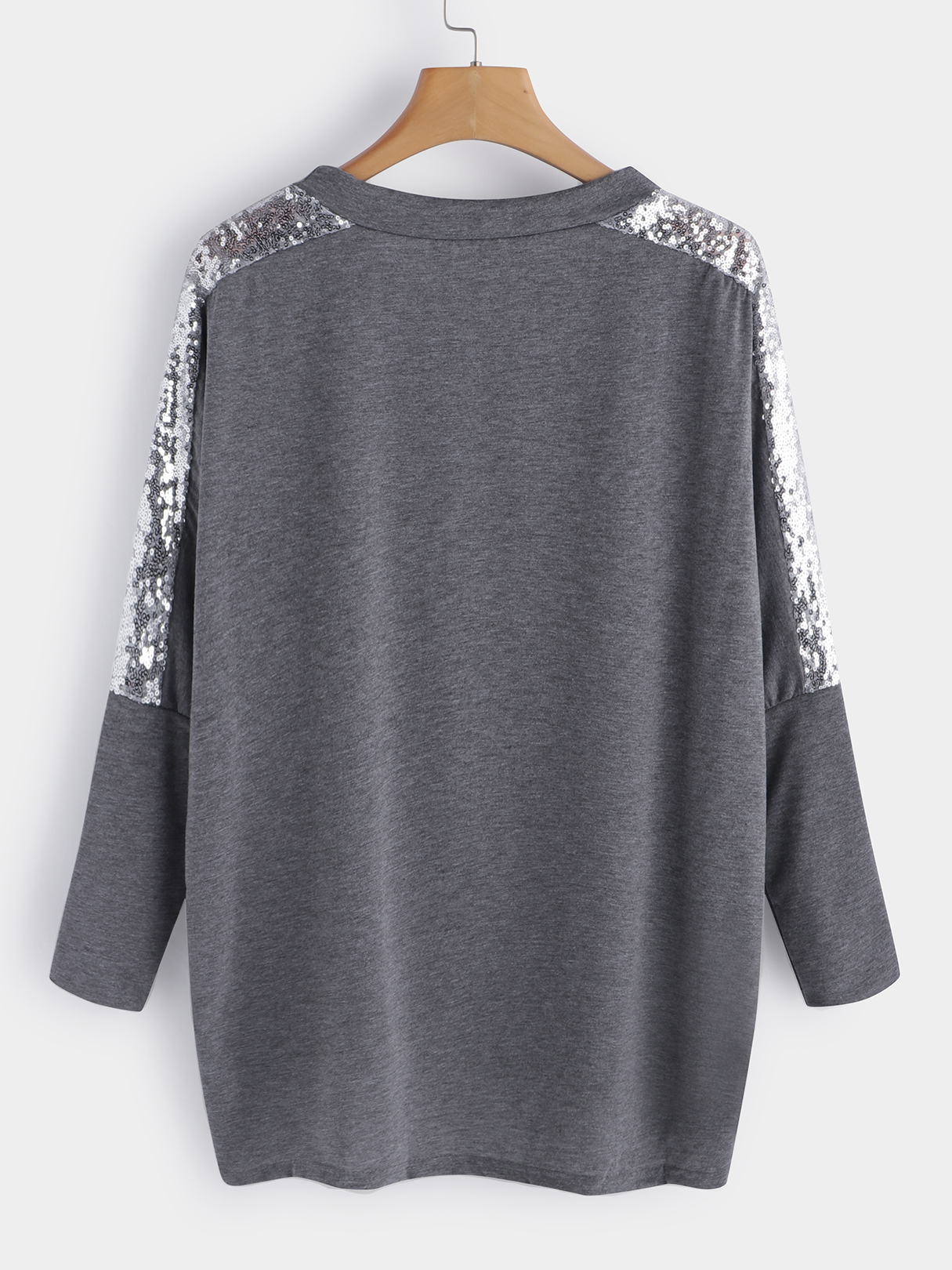 Grey Handmade Beaded Details Round Neck Long Sleeves T-shirts цена