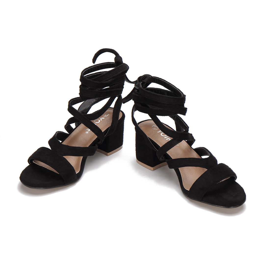 Black Cross Straps Tie Fastening Block Heel Sandals