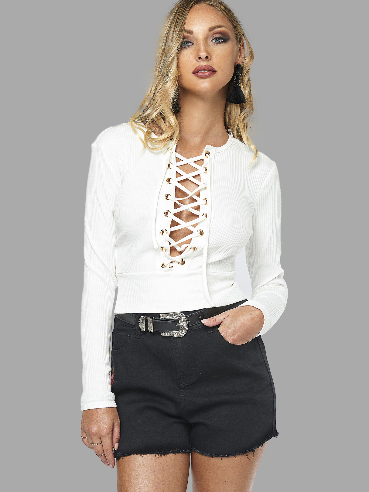 White Fashion Lace-up Crop Top With Long Sleeves white fashion lace up crop top with long sleeves