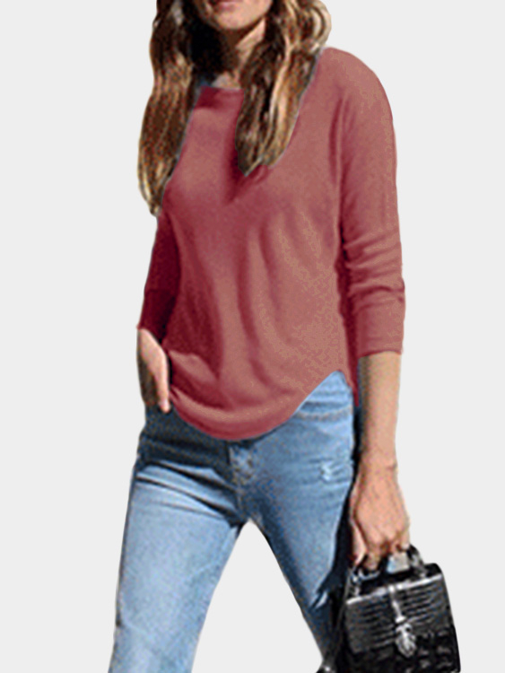 Red Splited Design Round Neck Irregular Hem T-shirt