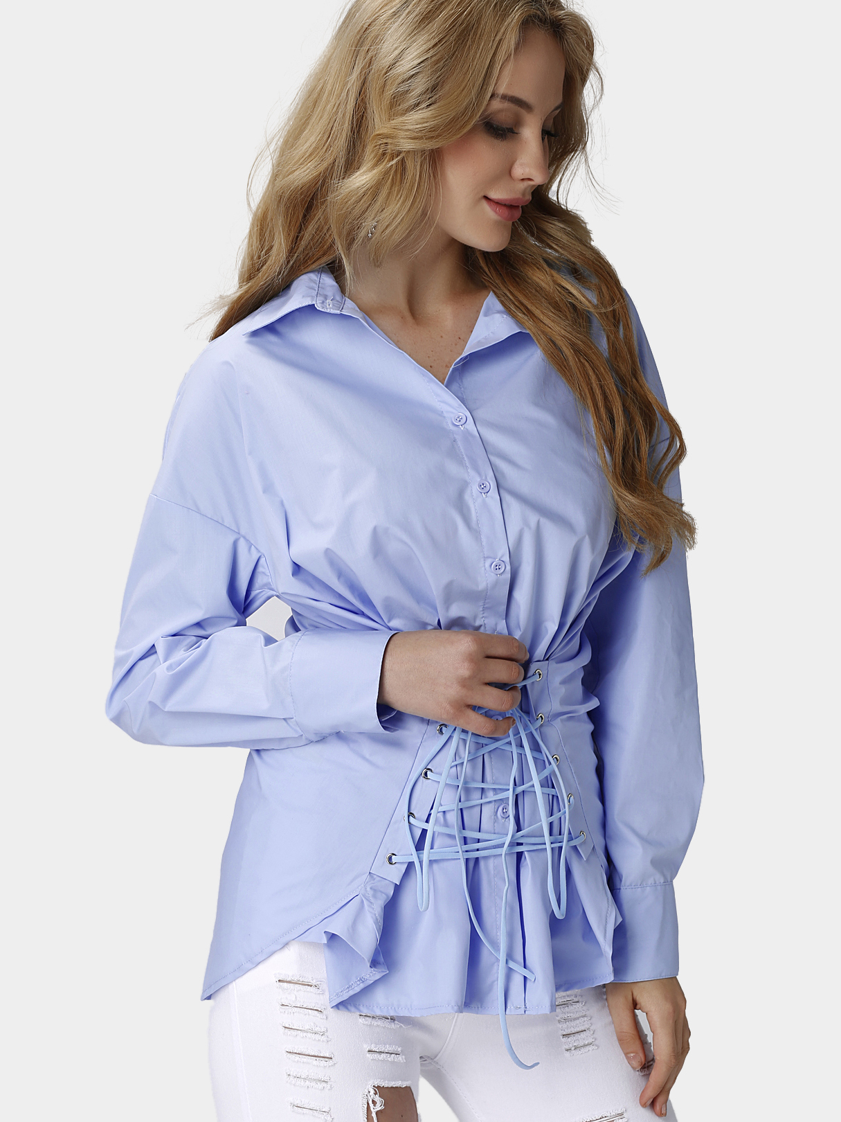 Blue Boyfriend Style Loose Fit Shirt one piece wood neck this link just for pay different please don t pay