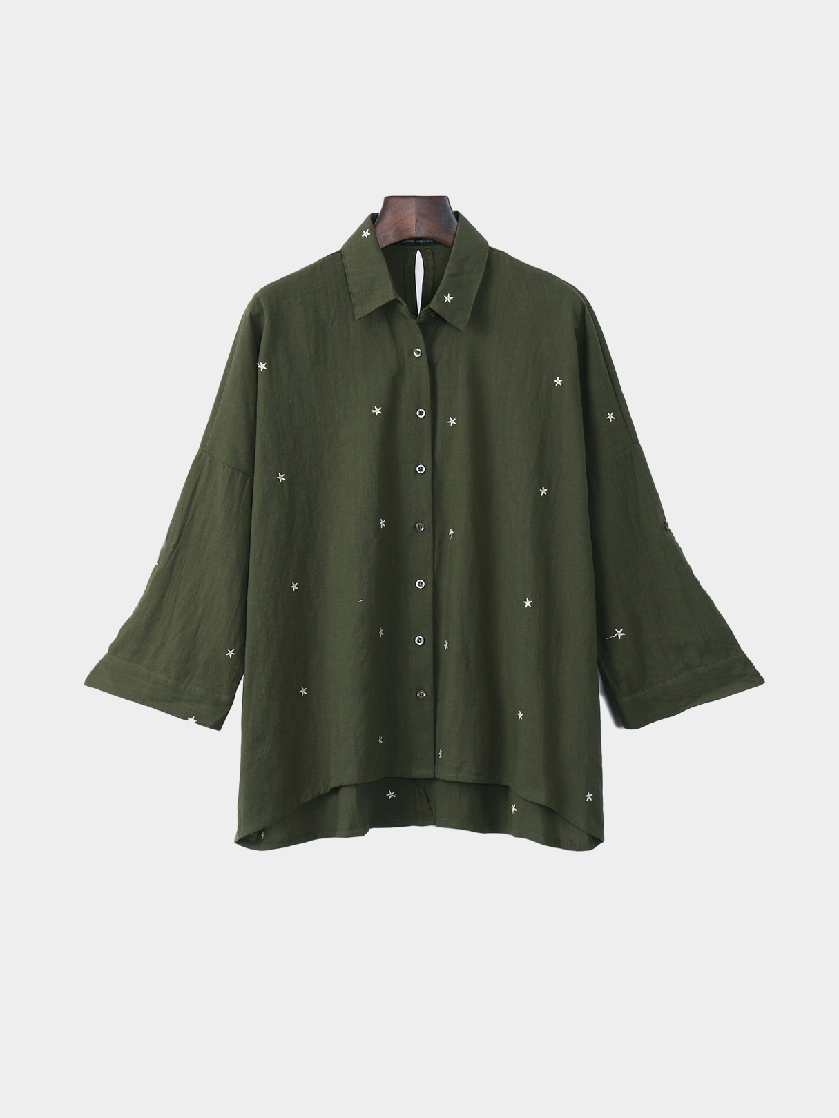 Long Sleeves Small Star Pattern Linen Shirt
