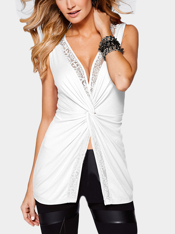 White Sexy V Neck Splited Hem Vest