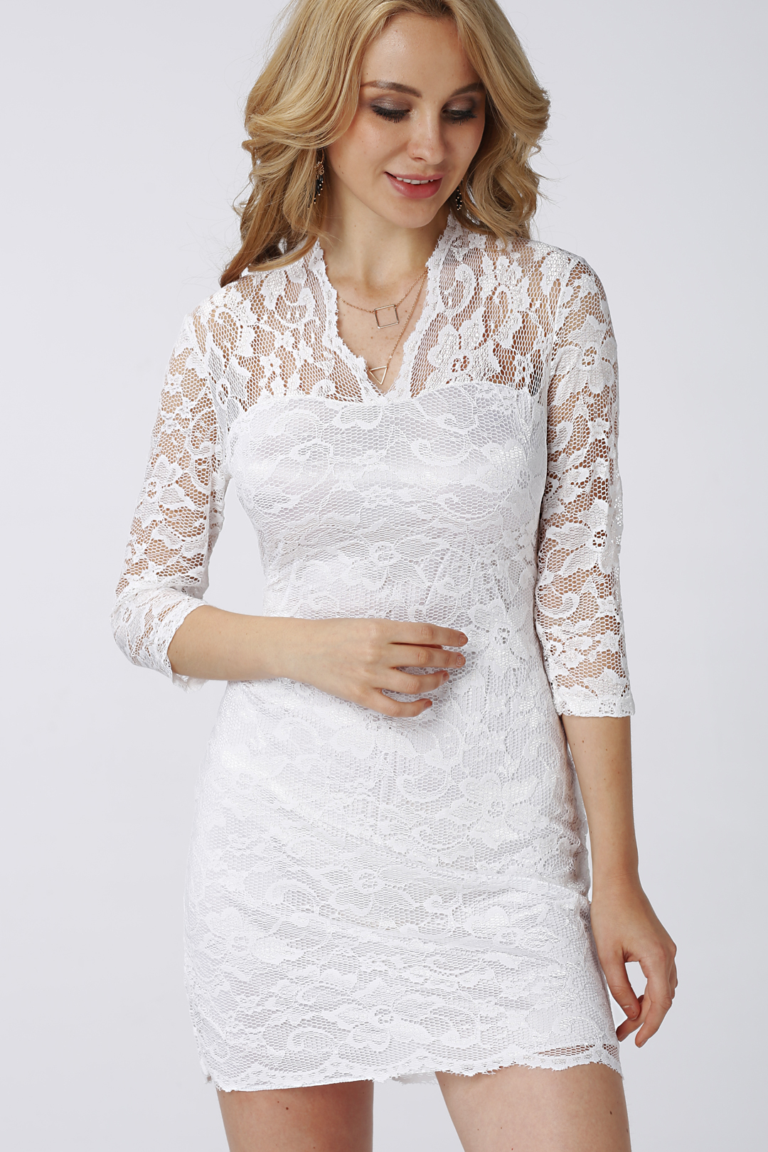 Image of 3/4 Length Sleeves Lace Dress in White