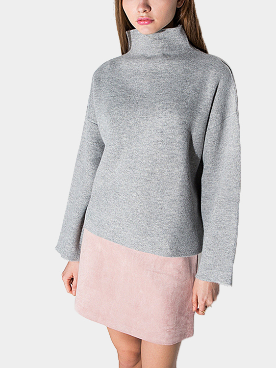 High Neck Knitted Sweater in Grey