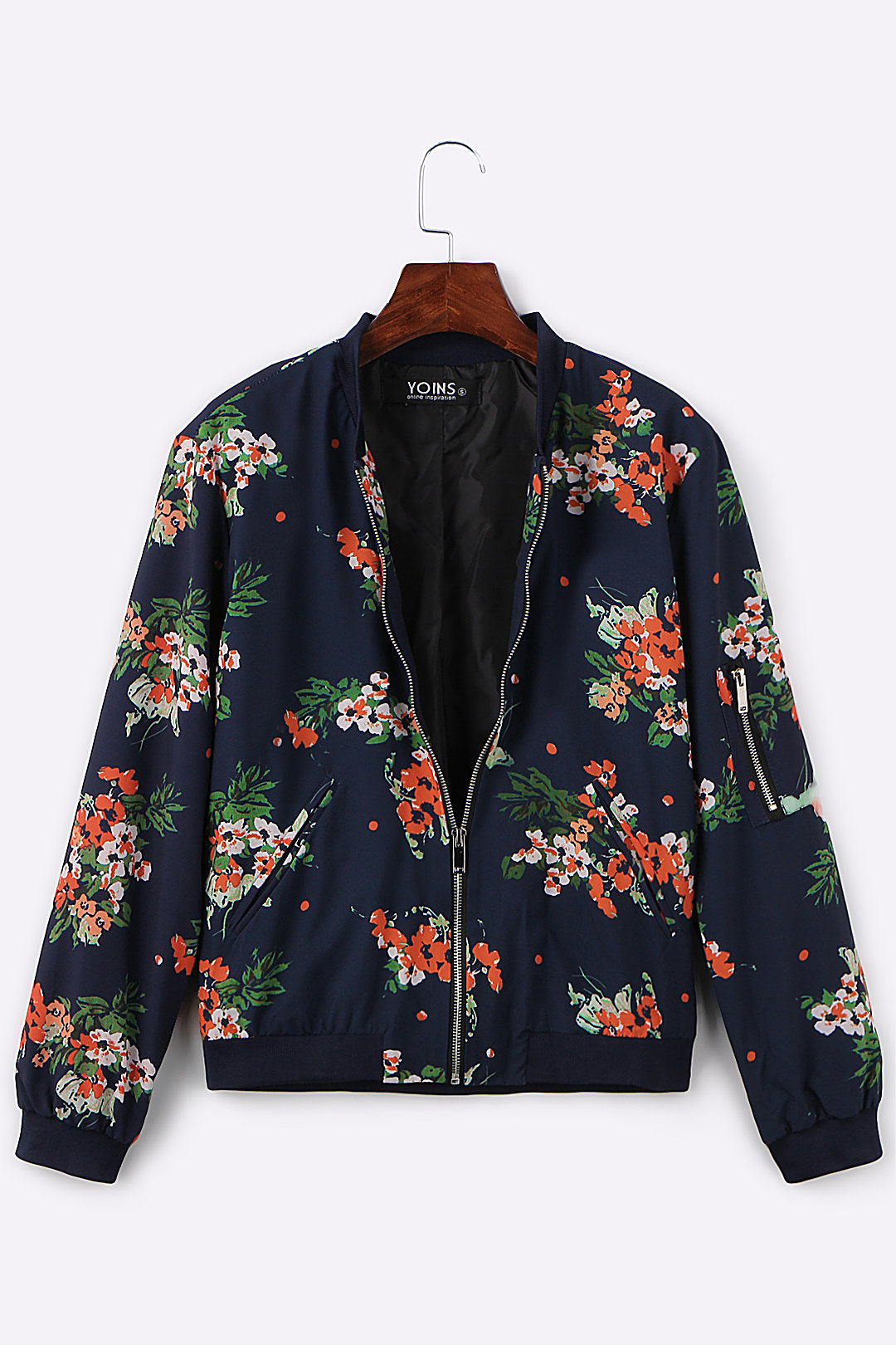 Random Floral Print Quilted Jacket with Side Pockets fashion random floral pattern pockets design jacket